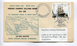 HOMENAJE ALMIRANTE GUILLERMO BROWN 1814-1969 - 155° ANIVERSARIO TRIUNFO DE MARTIN GARCIA. ENVELOPE ARGENTINA FDC. -LILHU - Filatelia Polar
