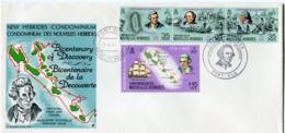 NOUVELLES-HEBRIDES ENVELOPPE 1er JOUR DES N°394/397 BICENTENAIRE DE LA.................... OBLITERATION PORT-VILA 1-8-74 - FDC