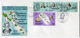 NOUVELLES-HEBRIDES ENVELOPPE 1er JOUR DES N°398/401 BICENTENAIRE DE LA.................... OBLITERATION VILA 1-8-74 - FDC