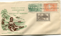 NOUVELLES-HEBRIDES ENVELOPPE 1er JOUR DES N°174/181 ET 183 SERIE COURANTE OBLITERATION PORT-VILA 3-9-1957 - FDC
