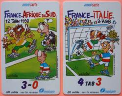 LOT DE 2 CARTES TELEPHONIQUES PREPAYEES - OMNICOM - FRANCE 98 - ITALIE AFRIQUE DU SUD - 2 SCANS - France