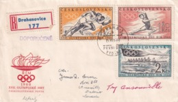 Czechoslovakia 1960 Registered Cover To Canada: Olympic Games 1960 Rome; Gymnastics; Rowing Running; - Sommer 1960: Rom