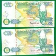 Zambia 20 Kwacha 1992 (two Dif. Signatures) P36a,b UNC - Zambia