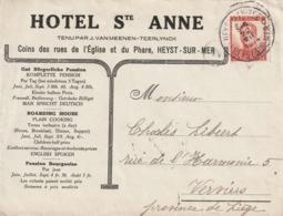 COB N° 123 / Lettre à Entête  - Heyst-sur-Mer / Heyst-aan-Zee  - Hotel Ste Anne ,Tenu Par J. Van Meenen-Teerlynck 1914 - 1912 Pellens