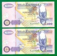 Zambia 100 Kwacha 1992 (two Dif. Signatures) P38a,b UNC - Zambia