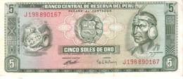 Peru P.99  5 Soles 1970 Unc - Pérou