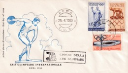 Italy 1960 Cover: Olympic Games 1960 Rome; Discus; Stadium; Olympic Emblem - Sommer 1960: Rom