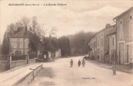 52 Gudmont La Route Villers Cpa Carte Animée Roulotte - France