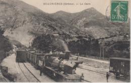 CPA Beaurières - La Gare (avec Train En Très Beau Plan) - Frankreich