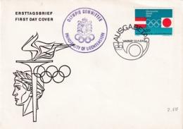 Liechtenstein 1964 Cover: Olympic Games  Tokyo Innsbruck; Torch; Wreath; Olympic Committee Violet Cachet - Sommer 1964: Tokio