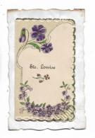 Ste  Louise    -  Violettes   - Carte  Double   D,orée  Et  Gaufée Avec  Petite Poème - Other