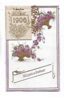 1906  -  Carte Gaufrée Et D,orée , Paniers Des Fleurs Et Calendrier Avec Les Jours Des Saints - New Year