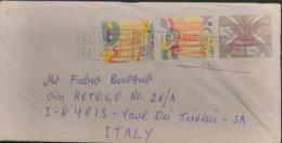 1999 Australia - Festive B91 01,20 Festive A10 00.05 Emu A43 00.45 ERROR NO LINE PRINT -  Used Stamps On Cover To Italy - Vignette Di Affrancatura (ATM/Frama)