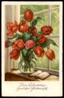ALTE POSTKARTE ZUM GEBURTSTAGE HERZLICHEN GLÜCKWUNSCH TULPEN BUCH Blumen Tulpe Tulip Tulipe Flowers Fleurs Flower Book - Giftige Pflanzen