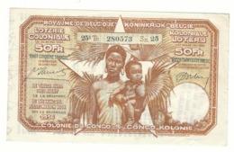 Loterie Coloniale 25e Tranche 1936    50fr.     Koloniale  Loterij 25de Tranche 1936   50fr - Billets De Loterie