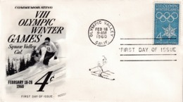 USA 1960 Cover; Winter Olympic Games Squaw Valley California; Alpine Skiing; Olympic Valley Cancellation - Invierno 1960: Squaw Valley