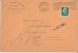 BOLOGNA COMMERCIALE AVV. CESARE RIGHINI  2-6-1936  LETTERA  IMPERIALE CENT 25 - Storia Postale