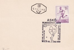 Austria 1959 Card: Athletics; Discus Throwing; Running - Stamps
