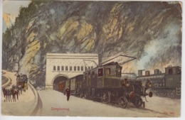 CPA Simplonzug (animation Avec Trains En Très Beau Plan) - Switzerland