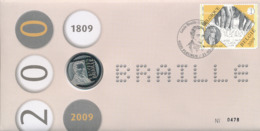 BELGIUM FDC COIN COVER BRAILLE - FDC
