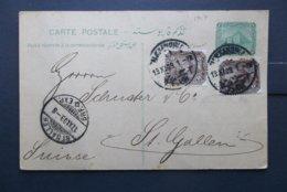 Egypt: 1909 Uprated Postal Card To St. Gallen (#TU10) - Egypt