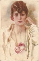 Illustratore TERZI - DONNINA LIBERTY - FORMATO PICCOLO - VIAGGIATA 1920 - (rif. P52) - Andere Zeichner