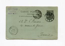 !!! PRIX FIXE, ENTIER POSTAL CARTE REPONSE DE TUNISIE, UTILISEE A HAMBOURG EN 1898 - Postal Stamped Stationery