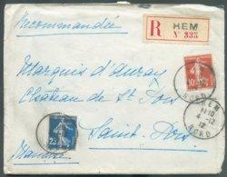 Lettre Recommandée De HEM NORD 4/12/1912 Et Affr. à 35c. Vers Saint-Pois (Comtesse D'Auray) - 14702 - 1906-38 Semeuse Camée
