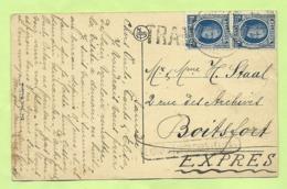 206 Op Kaart Per EXPRES Met Stempel BRUXELLES Met Stempel TRAM !!! Naar BOSCHVOORDE (986) - 1922-1927 Houyoux