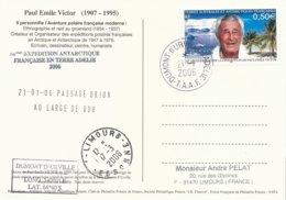 TAAF - Dumont D'Urville-T.Adélie: Carte Illustrée PE Victor Avec Timbre N°417 PE Victor - 21/01/2006 - Franse Zuidelijke En Antarctische Gebieden (TAAF)