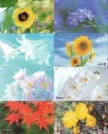 LOTE DE 8 TARJETAS TELEFONICAS DE JAPON. (FLORES - FLOWERS) (179) - Flores