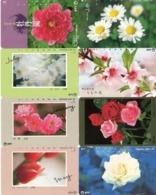 LOTE DE 8 TARJETAS TELEFONICAS DE JAPON. (FLORES - FLOWERS) (182) - Flores