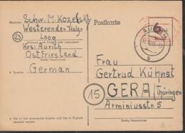 AllBes. PA15 Notausgabe, Gestempelt: Aurich 21.10.1945 - Zone Anglo-Américaine