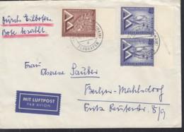 BERLIN 160, 2x 162 MiF, Auf Eil-Luftpost-Brief Mit Stempel: Frankfurt-Flughafen 30.5.1957 - Lettres & Documents