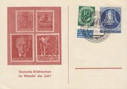 BERLIN  78, BRD 128 MiF Auf Sonderkarte Mit Sonderstempel: Göppingen Briefmarkenausstellung 7.7.1951 - [5] Berlin