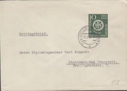 BERLIN  138-139, FDC, 100 Jahre VDI 1956, Echt Gelaufen Mit Stempel: Stuttgart-Bad Cannstatt - FDC: Enveloppes