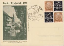 DR 513 4erBlock, Privater Überdruck: T Auf SoKa Mit Sonderstempel: Erfurt Tag Der Briefmarke 10.1.1937 - Deutschland