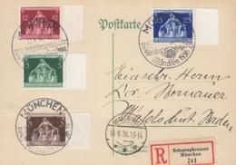 DR 617-620 MiF Auf R-Karte Telegraphenamt Mit Sonderstempel: München Kulturgemeinde Reichstagung 17.6.1936 - Deutschland
