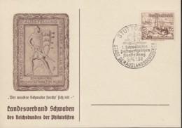 """DR 651 Auf Sonderkarte """"Der Wackre Schwabe"""" Mit Sonderstempel: Stuttgart Postwertzeichenausstellung 8.-16.1.1938 - Briefe U. Dokumente"""