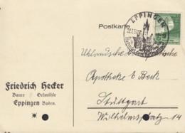 DR 666 EF Auf Postkarte Mit Sonderstempel: Eppingen 22.7.1938, Dt. Turnfest - Duitsland