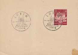 DR  862 Auf Karte Mit Sonderstempel: Lübeck 800 Jahre Hansestadt 24.10.1943, FDC - Germany