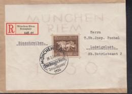 DR  Block 4 EF, Auf R-Brief Mit Sonderstempel: München-Riem Das Braune Band 26.7.1936 - Germany