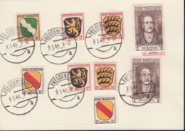 FranzZone 5, 2x 6, 8, 10, 11, Auf Karte Gestempelt Freudenstadt 9.1.1946 - Zone Française