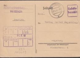 GEBÜHR BEZAHLT MiNr. B4a, Mit Stempel: Wittlich 21.6.1946 - Zona Francesa