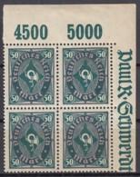 INFLA DR  209 P Y, 4erBlock Eckrand Oben Rechts, Postfrisch **,  Geprüft - Infla