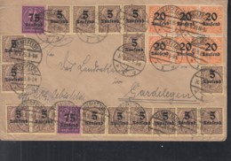 INFLA DR Dienst 16x 89, 6x 90, 2x 91 MiF, Geprüft, Auf Brief Mit Stempel: Oebisfelde 430.9.1923, Portogerecht -100g - Infla