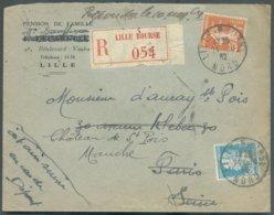 Lettre Recommandée De LILLE-BOURSE 24-10-1932 Affr. 1Fr75 Vers Paris (Marquis D'Auray) - 14711 - 1922-26 Pasteur