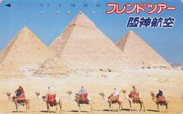 TC Japon / 110-011 - Site EGYPTE - PYRAMIDE Chameau Sphinx  - EGYPT Rel Japan Phonecard Camel Série HANSHIN AIRLINES 196 - Landschaften