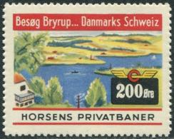 Denmark HORSENS PRIVATBANER 200 øre ** MNH Local Railway Parcel Eisenbahn Paketmarke Chemin De Fer Colis Ship Lighthouse - Trenes