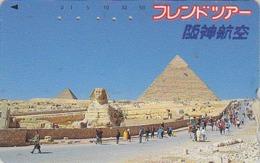 TC Japon / 110-011 - Site EGYPTE - PYRAMIDE Chameau Sphinx - EGYPT Rel Japan Phonecard Camel Série HANSHIN AIRLINES 197 - Landschaften